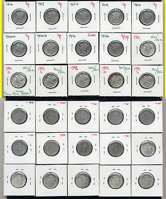 Lot Of 25 Mercury Dimes- Includes 1921-P And Many High Grades - No Reserve