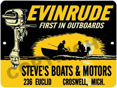 """EVINRUDE First In Outboard Marine Motors 9"""" x 12"""" Aluminum Sign"""
