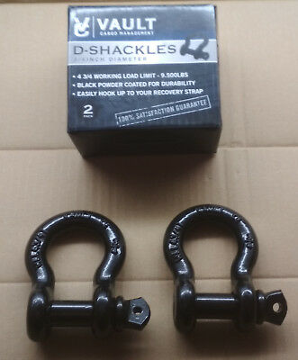"Vault Cargo Management 3/4"" Shackles - 2 Pack - Black Powder Coated - 9500lb cap"
