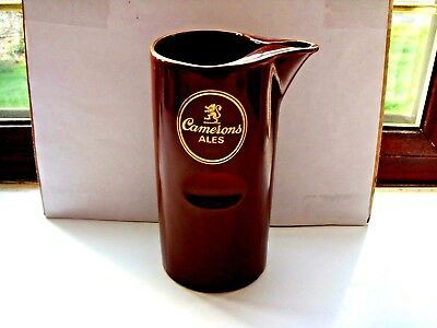 camerons ales water jug brown/gold stamp to base lin VGC
