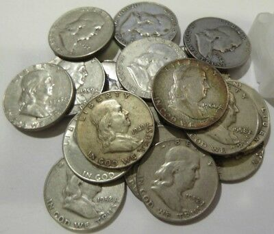 Franklin Half Dollars , 90% Silver Coin Lot, Circulated, Choose Your Qty.