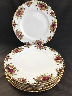 """Royal Albert Old Country Rose 10 1/4"""" Dinner Plates X 6"""