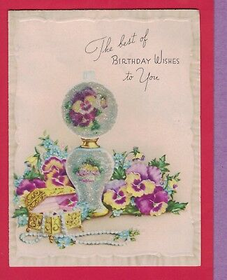 1117N  Vtg Birthday Card Unique ~ Beaded Gone With The Wind Lamp Jewel Box 1945