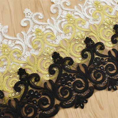 12.5cm Colorful Beaded Lace Trim Ribbon Embroidery Sewing On Applique Decor