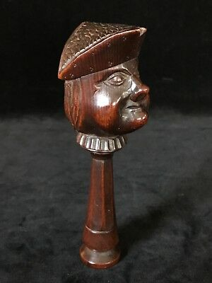 Antique Rare PIRATE Wooden NUTCRACKER Screw-type Hand Carved Late 19th Century