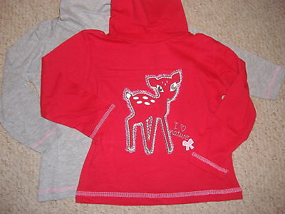 Two Pack Of Girls Roll Neck Tops In Red And Grey Age 12-24 Months Bnwt