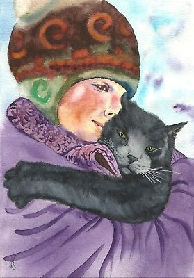Original Signed - Hand painted - Direct sale by artist - Hugging cat (A4)