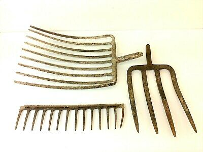 Mixed Antique Lot Three Old Iron Metal Pitchfork Hoe Tools Heads Parts
