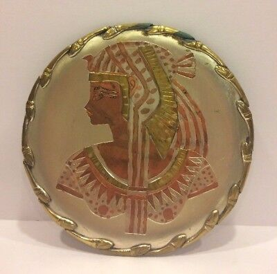 Vtg Cleopatra Egyptian Snakes Style Plate / Wall Plaque Brass Copper Queen Nile