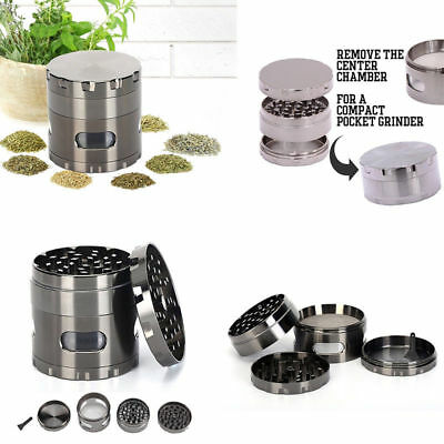 4-Layers Herb Grinder Spice Tobacco/Weed Smoke Metal Crusher Leaf Design 55MM
