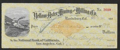 RN-X7  March 31, 1901 check of Yellow Aster Mining & Milling Co Randsburg, CA