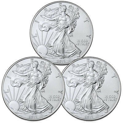 Lot of 3 2019 1 oz American Silver Eagle $1 GEM BU Coins SKU56932