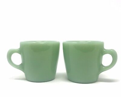 Fire King Jadeite Restaurant Oven Ware C Handled Coffee Mugs Set Of Two