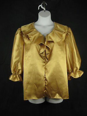 Square Dance Blouse XL Gold Silver Ruffled Front 3/4 Sleeves SQUARE UP FASHIONS