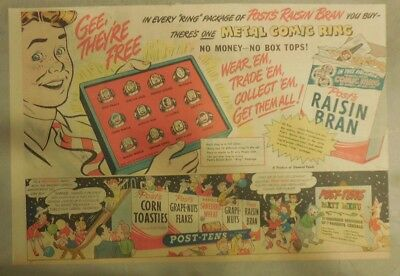 Post Cereal Ad:Comic Strip Rings!! Premium 1930's-1940's 11 x 15 inches