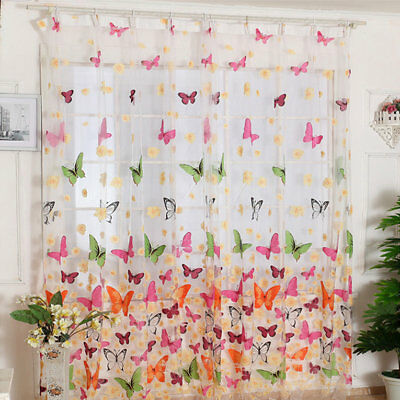 100*200CM Large Size Beautiful Butterfly Printed Living Room Curtain With Hole