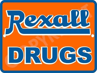 """REXALL DRUGS Vintage 9"""" x 12"""" Sign"""