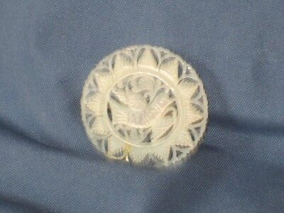 Vintage Silver-Tone Metal Carved Mother Of Pearl Bird Pin Brooch