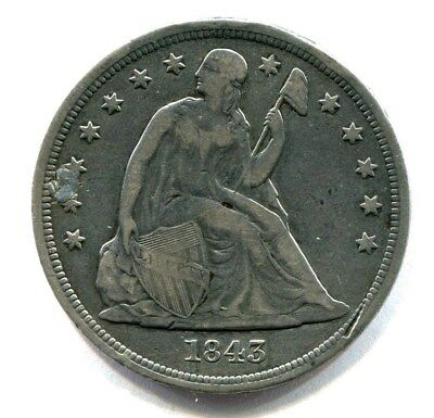 1843 LIBERTY SEATED SILVER DOLLAR low mintage PLUGGED