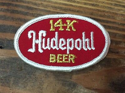 "Vtg NOS 50s 60s HUDEPOHL 14K BEER 3.25"" x 2"" Dealer Jacket Clothing Patch Sign"