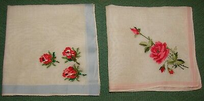 2 Vintage Embroidered Roses Linen Handkerchiefs