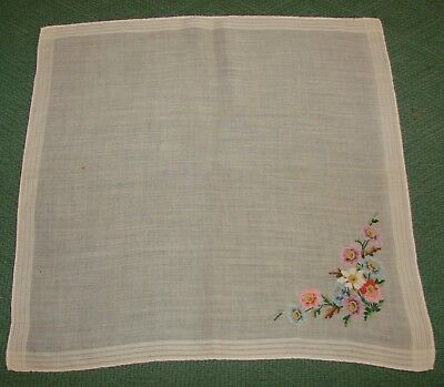 Vintage Tiny Petite Cross Stitch Linen Embroidered Handkerchief - Flowers