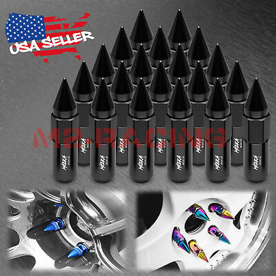 Black 20 PCS M12X1.25 Spiked Extended Lug Nuts For Nissan Rouge Altima 370z 350z