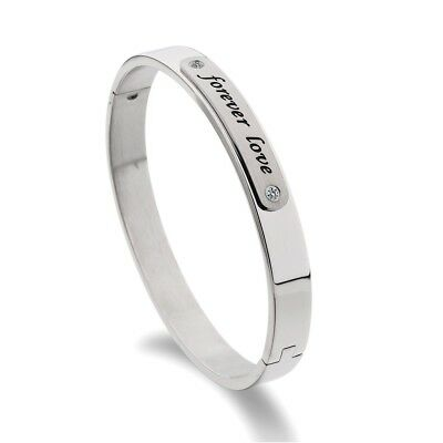 Charming Women Party Silver 316L Stainless Steel Bangle Cuff Bracelet Jewelry