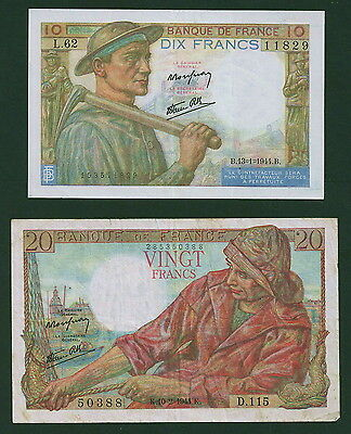 Pair of French Notes, #99 & #100, Both Nice Circulated Examples