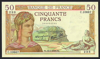 France 50 Francs #85b, SHARP, Clean Extremely Fine+ Note, Scarce