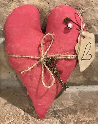 Primitive Made Fabric *Key To My Heart* Pink Valentine