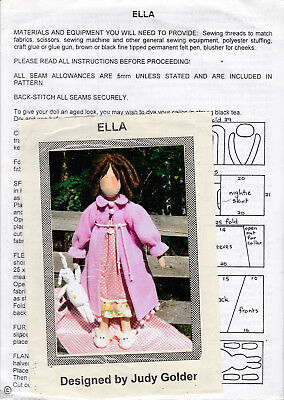 Ella by Judy Golder - Doll Making Sewing Toy Craft Hobbies Pattern