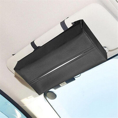 Black PU Leather Tissue Box Car Home Hotel Pumping Paper Napkin Holder Case TL