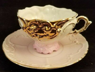 Collectible Vintage Pink with Gold Trim Teacup and Saucer