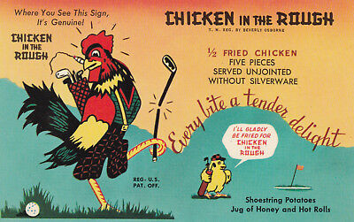 Chicken in the Rough Postcard 1950's Chickens Golfing