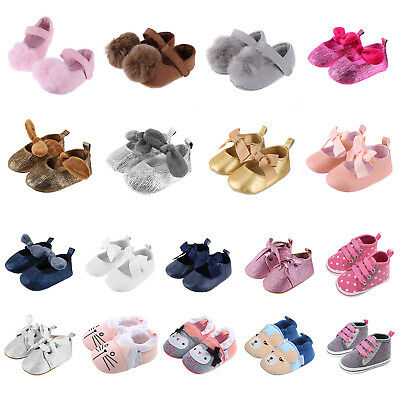 Newborn Infant Baby Kids Girls Soft Sole Crib Shoes Anti-slip Sneaker Prewalker