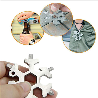 19 In1 Multi-tool Camping Card Combination Compact Outdoor Snowflake Stainless