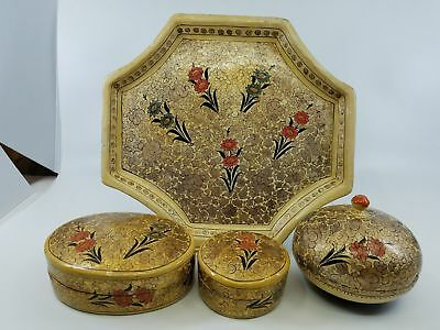 Vintage Lovely Kashmir India Floral Handmade Paper Mache Set of 3 Boxes & Tray