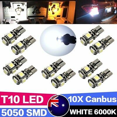10PCS CANBUS T10 Wedge 5SMD Parking Number Plate LED Bulbs W5W 194 168 131 WHITE