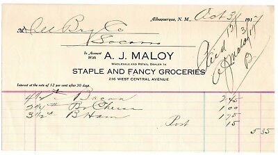 Billhead- A.J. Maloy- Groceries- Albuquerque, New Mexico 1920