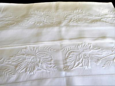 Vintage Antique Whitework Embroidery Linen Pillowcases