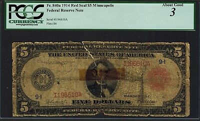 1914 $5 Federal Reserve Note *LOW BALL* Minneapolis - RED SEAL Bill - PCGS 3