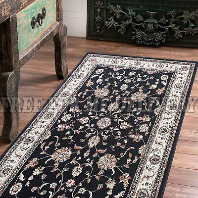 STEFANI ALLOVER BLACK CREAM TRADITIONAL RUG RUNNER 80x500cm **FREE DELIVERY**