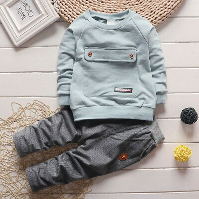 2pcs Kids Baby Boys Girls Casual T Shirt Top+Pants Toddler Infant Clothes Sets