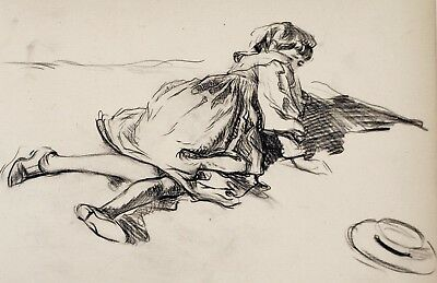 Frederick Henry Townsend (1868–1920) Landscape drawing. Girl lying down