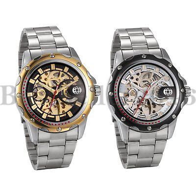 Mens Transparent Steampunk Skeleton Automatic Mechanical Stainless Steel Watch