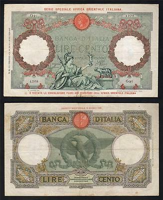 ITALIAN EAST AFRICA P-2B. 1939 100 Lire - Red Overprint on Italian 100 Lire. aVF