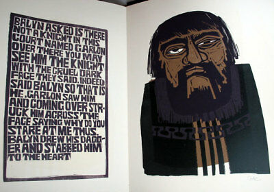 "Graham Clarke , ""Balyn and Balan"", L/E Woodblock Prints in a Wooden Portfolio"
