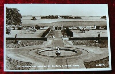 Postcard showing a view ofthe Gardens and Loch Leven Castle, Kinross House