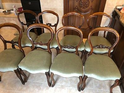 Harlequin set of 8 Victorian Balloon Back Chairs Newly Reupholstered